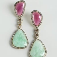 Amrapali mint and raspberry sapphire diamond drop earrings | BLUEFLY up to 70 off designer brands