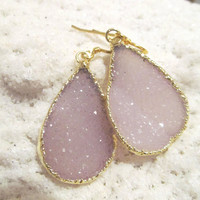 Pale pink druzy teardrop Gold earrings