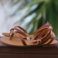Kiera Dark Tan Wrap Sandals