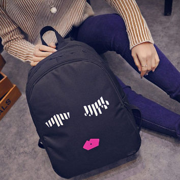 Student School Bag for Teenagers Finger Emoji Printing Backpacks