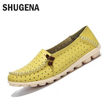 Genuine leather summer women flats shoes female casual flat shoes women loafers shoes