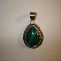 Vintage Native American Malachite Pendant Signed Jon McCray Teardrop Shape
