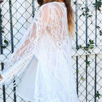 DCCK7N3 Women Fringe Lace Wear Cardigan Tassels Beach Cover Up Cape Tops Blouses
