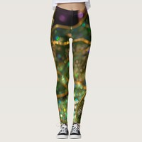 Abstract green purple and gold pattern leggings