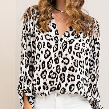 You're An Animal Cheetah Print Long Sleeve V Neck Tunic Blouse - 2 Colors Available