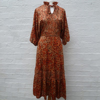 Clothing 70s dress autumn brown dress 70s clothes size 12 dress ladies summer dress picnic midi dress boho clothing vintage dress 70s dress.