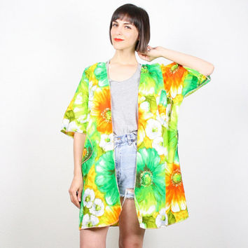 Vintage Kimono Jacket 1970s 70s Hippie Robe Duster Tropical Floral Print Yellow Green Orange Festival Jacket Boho M Medium L Extra Large XL