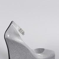 Bamboo Metallic Glitter Jelly Peep Toe Ankle Strap Wedge