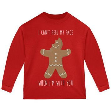 DCCKU3R Christmas Gingerbread Man Can't Feel My Face Toddler Long Sleeve T Shirt