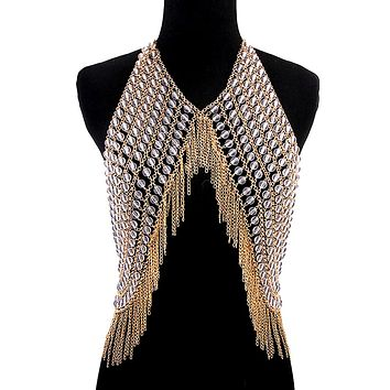 Clear Bead and Gold Body Chain Vest with Fringe
