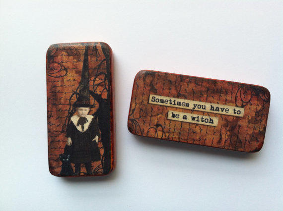 Halloween Witch Domino Humor Magnets