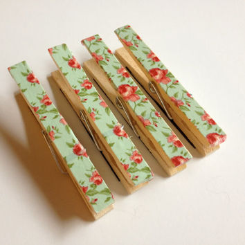 Green and Pink Flower Magnets, Clothespin Magnets, Set of Four