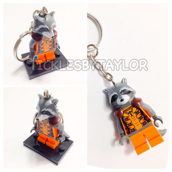 Lego® Guardians of the Galaxy Rocket Raccoon Keychain, Lego Superhero Keychain, BOGO Buy 1 Get 1 Lego® Minifigure Keychain, LEGO Party Theme