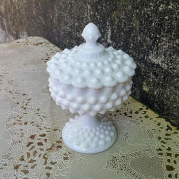 Fenton White Milk Glass Hobnail Pedestal Covered Candy Dish