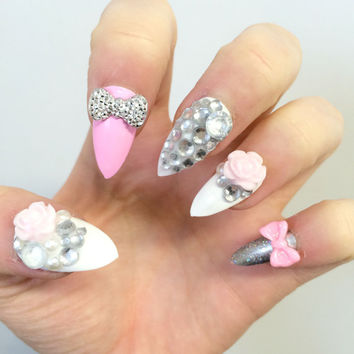 Doobys Stiletto - Barbie Pink Super Bling - 24 Hand Painted False Nails Flowers