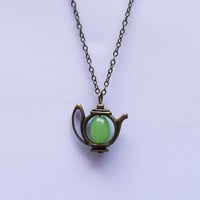 The teapot necklace, ancient bronze teapot necklace, lovely, the best Christmas gift, the gift of friendship