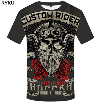 KYKU Brand Motorcycle Shirt Punk Shirts Knight  3d T Shirt Men Casual Rock Vintage Hip Hop T Shirt Summer Casual  Clothes