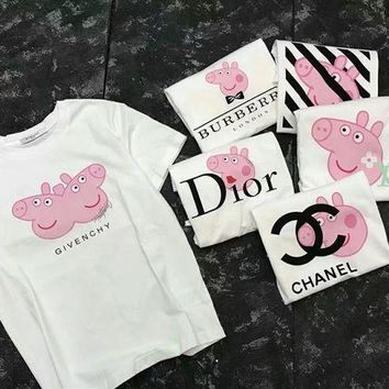 PEPPA Pig Dior Shirt Chanel Givenchy LV Burberry Piglet short sleeved Shirt Top