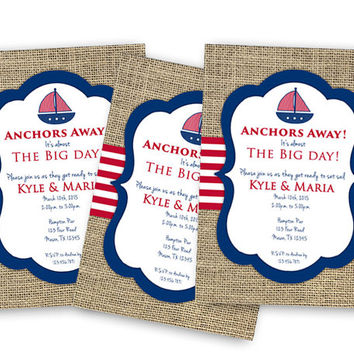Nautical Bridal Shower Invitation - Anchors Away Bridal Shower Invites - Burlap - Sailboat - Personalized Wedding Shower - Set Sail - Custom