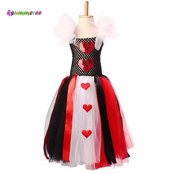 Ksummeree Queen of Hearts Inspired Girls Tutu Dress Halloween Valentines Day Costume Wild Hearts Tutu Dress TS116