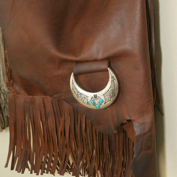 Western leather purse - western crossover handbag