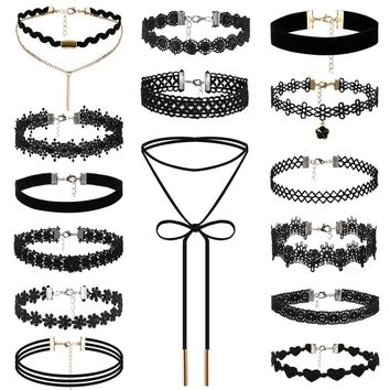 SHIPS FROM USA 15pcs/lot Tattoo Punk Collars Vintage Love Lace Flower Necklace Choker For Women Chain Jewelry Statement Collier