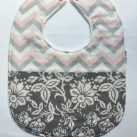 Baby Bib - Limited Edition Baby Bib - Pink and Grey Chevron and Floral Baby Bib - Pink and Grey Bib -White Minky Fabric - Handmade Baby