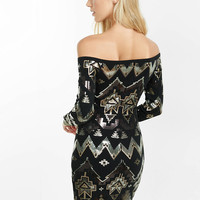 off the shoulder deco sequined dress