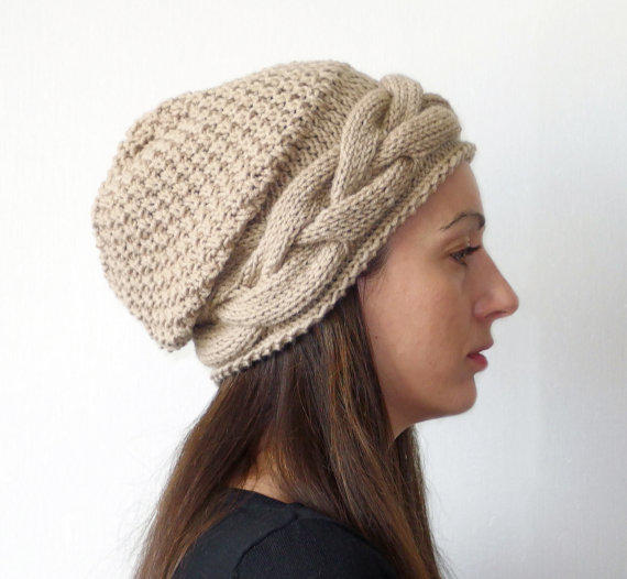chunky knit hat, women knit hats, slouch from LuzyFlor on Etsy