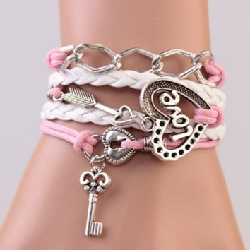 2014 New Handmade Bracelet Lock key Cupid's Arrow Charms Infinity Bracelet White Pink Leather Bracelet Women Best Couple Gift