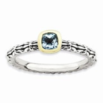 Sterling Silver & 14k Yellow Gold Checker-cut Blue Topaz Antiqued Ring