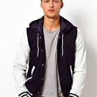 ASOS Varsity Jacket With Hood at asos.com
