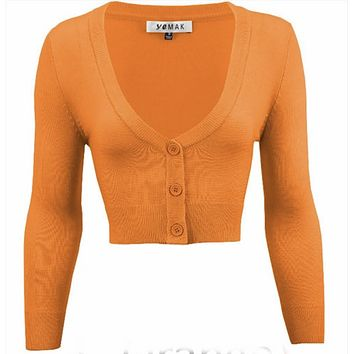 MAK V neck Cardigan Sweater Light Orange