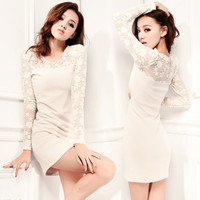 Womens Korea Elegant Sexy Lace Long Sleeve Splicing Mini Dress Shift Dresses 1Gg