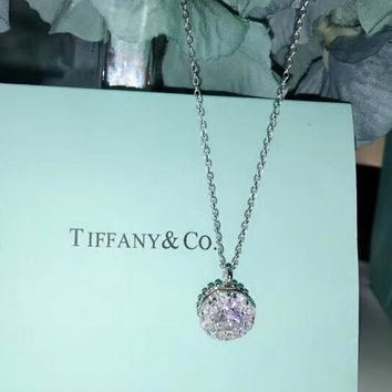 Tiffany & CO Fashion New Diamond Pendant Sterling Silver Personality Women Necklace Silver