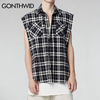 Men Flannel Plaid Shirts Hip Hop Black White Plaid Shirt Male Casual Cotton Sleeveless Side Tank Tops