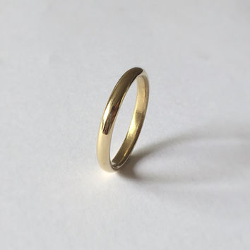 Gold Half Round Ring - D Shape Ring - 3mm Wide Ring -18 Carat - Simple Wedding Band - Men's Women's Unisex