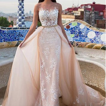 [218.99] Stunning Tulle & Satin Bateau Neckline 2 In 1 Wedding Dresses With Lace Appliques - dressilyme.com
