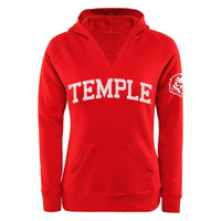 Temple Owls Women's Chain V-Notch Pullover Hoodie - Cherry