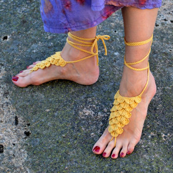 Barefoot sandals Nude shoes Golden yellow crocodile stitch crochet foot jewelry Dragon crochet Mermaid crochet Dragon fantasy inspired