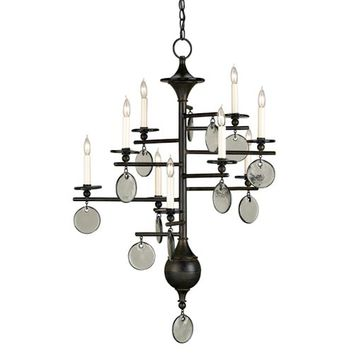 Currey & Company 9126 Sethos Old Iron/Recycled Glass Nine-Light Chandelier
