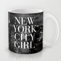 New York City Girl Black & White Skyline Vogue Typography Mug by RexLambo