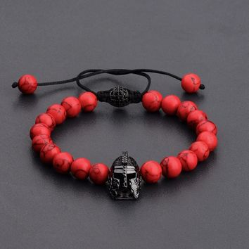 Amader 8MM Black Copper Helmet&Ball Red Natural Stone Beads Bracelets For Women Chakra Bangles Bijoux Men Jewelry ABL010