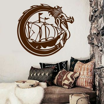 Vinyl Wall Decal Celtic Dragon Viking Ship Boat Sail Sailor Stickers Unique Gift (1862ig)