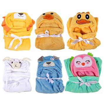 Baby Blankets Newbrons Cartoon Animals Flannel Baby Blanket Bedding Hooded Bath Towel Coral Velvet Toddler Soft Blanket Linens
