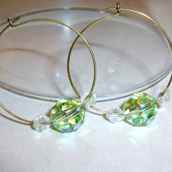 Gold Hoop Earrings with Pale Green AB Glass Beads. Pastel Green. Clear Glass Bead Earrings. Gold Earrings. Hoop Earrings. Earrings on Sale.