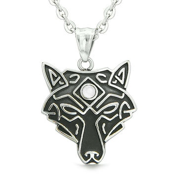 Celtic Wolf All Seeing Third Wisdom Eye Magic Amulet White Simulated Cats Eye Pendant 22 inch Necklace