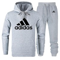 ADIDAS Tide brand men and women classic large printing cotton sports suit two-piece Grey