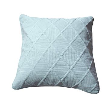 Tache Seafoam Blue Soothing Pastel Cotton Diamond Stitch Pattern Euro Sham (JHW-856-Euro)