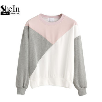 SheIn Casual Pullovers For Women Autumn Ladies Multicolor Round Neck Long Sleeve Drop Shoulder Color Block Sweatshirt